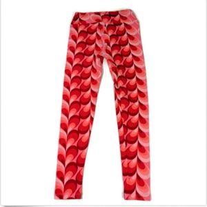 LuLaRoe Leggings OS Heart Print Red Pink